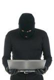De hakker van de computer - misdadiger met laptop Royalty-vrije Stock Afbeelding