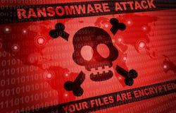 De hakker van de Ransomwareaanval malware rond de wereldachtergrond royalty-vrije illustratie