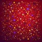 De halfedelstenen van de kleur op ruwe rode oppervlakte Stock Foto's