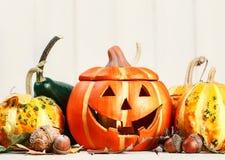 De Halloween todavía del día de fiesta Jack-o-linterna asustadiza feliz de la calabaza de la vida Imagen de archivo