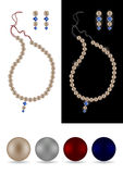 De halsband, de oorringen en de parels van de parel stock illustratie