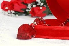 De halsband van het hart en juwelendoos Stock Foto's