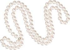 De halsband van de parel die op wit wordt geïsoleerdw Royalty-vrije Stock Afbeelding