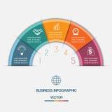 De Halve cirkel van de Infographickleur op vijf posities royalty-vrije illustratie