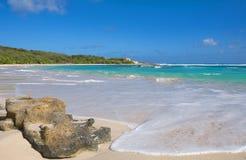 De halve kust van de Atlantische Oceaan van de Maanbaai - Caraïbisch tropisch eiland - Antigua en Barbuda royalty-vrije stock foto's