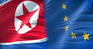 De halve vlag Noord- van Korea en de halve Europese Unie markeren, diplomatie van crisis de Europese staten en Noord-Korea voor k stock videobeelden