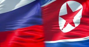 De halve vlag Noord- van Korea en de halve federatie van Rusland markeren, de diplomatie van de crisisstaat en Noord-Korea voor d royalty-vrije illustratie