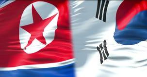 De halve vlag Noord- van Korea en half Zuid-Korea markeren, golvend vlagbeweging, de diplomatie van de crisisstaat en Noord-Korea royalty-vrije illustratie