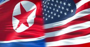 De halve vlag Noord- van Korea en de halve vlag van de Verenigde Staten van Amerika, crisis de V.S. verklaren diplomatie en Noord stock footage