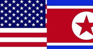 De halve vlag Noord- van Korea en de halve Verenigde Staten van Amerika markeren op de achtergrond van raadselstukken, die neer o vector illustratie