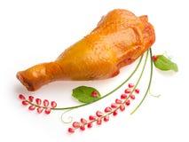De ham van de kip die met granaatappelkorrel wordt verfraaid Royalty-vrije Stock Afbeeldingen