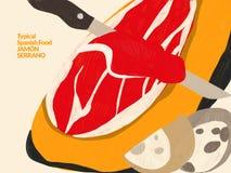 De ham van Serrano Traditionele Spaanse schotels en recepten royalty-vrije stock afbeelding