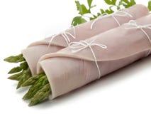 De hambroodje van York met wilde asperge stock foto's
