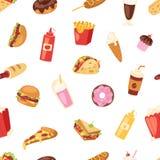 De hamburger of de cheeseburger ongezonde het eten van de snel voedsel vectorvoeding Amerikaanse fast-food van de conceptentroep  royalty-vrije illustratie