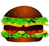 De hamburger met kaas, tomaat en salade Stock Foto's