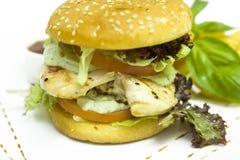 De Hamburger van de Filet van de kip Stock Afbeeldingen