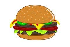 De hamburger van de kaas met sla en groenten in het zuur Royalty-vrije Stock Foto's