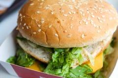 De hamburger van de kaassla met sesamzaden Stock Foto