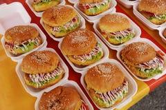 De hamburger van de kip stock afbeeldingen