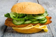 De Hamburger van de kippenfilet Royalty-vrije Stock Foto