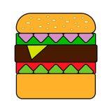 De hamburger van de snel die voedselcheeseburger op witte achtergrond in vlakke stijl wordt geïsoleerd vector illustratie