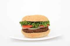De hamburger van het rundvlees over wit op een plaat royalty-vrije stock afbeeldingen