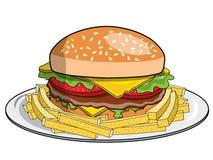 De hamburgerfrieten dienden geïsoleerde plaat Stock Foto