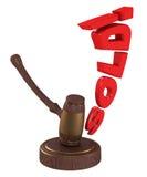 De hamer van de veiling met verkocht woord. Royalty-vrije Stock Fotografie