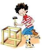 De hamer van het de jongenspuppy van de timmermansschrijnwerker royalty-vrije stock foto