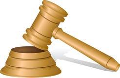 De hamer van rechters op wit Royalty-vrije Stock Afbeeldingen