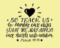 De hand die het Gebed van Mozes van letters voorzien onderwijst ons zo om dagen te tellen om een hart van wijsheid te bereiken vector illustratie