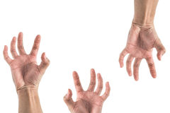 De hand die iets uitrekken, kijkt als zombiereeks Stock Foto