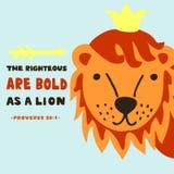De hand die met bijbelvers rechtschapen van letters voorzien is gewaagd als leeuw gezegden vector illustratie