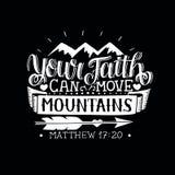 De hand die met bijbelvers Uw geloof van letters voorzien kan bergen op zwarte achtergrond bewegen vector illustratie