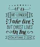 De hand die met bijbelverzen het van letters voorzien is niet meer I die leven, maar Christus leeft in me vector illustratie