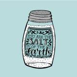 De hand die u is het zout van de aarde van letters voorzien, dat op zoutvaatje wordt gemaakt vector illustratie