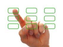 De hand die van Businessmanï ¿ ½ s één van de opties chooising Stock Foto