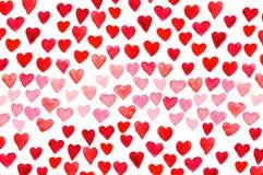 De hand die van de de Dagwaterverf van Valentine ` s rood hart schilderen Royalty-vrije Stock Fotografie