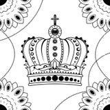 De hand die van de lijnkunst zwarte geïsoleerde kroon trekken op witte achtergrond Dudlingsstijl Tatoo Zenart Het kleuren voor vo Stock Foto's