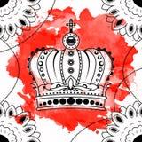 De hand die van de lijnkunst zwarte geïsoleerde kroon trekken op witte achtergrond met rode waterverfvlekken Dudlingsstijl Tatoo  Stock Afbeeldingen