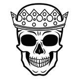 De hand die van de lijnkunst zwarte schedel met kroon trekken op had op witte achtergrond geïsoleerd Dudlingsstijl Tatoo Zenart k Stock Fotografie