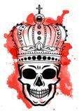 De hand die van de lijnkunst zwarte schedel met kroon trekken op had op witte achtergrond met rode waterverfvlekken geïsoleerd Du Stock Afbeelding