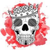 De hand die van de lijnkunst zwarte schedel met kroon trekken op had op witte achtergrond met rode waterverfvlekken geïsoleerd Du Royalty-vrije Stock Afbeelding
