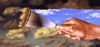 De hand die van de mens weg donkere wolken krast stock illustratie