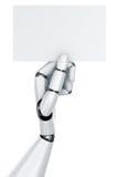 De hand die van de robot een leeg teken houdt Stock Afbeeldingen