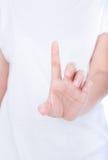 De hand die van de vrouw drukkend een knoop over lichaam simuleert stock foto