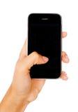 De hand die van de vrouw mobiele telefoon houdt stock foto's