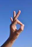De hand die van de vrouw - O.k. teken gesturing Royalty-vrije Stock Afbeeldingen