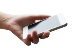 De hand die van de vrouw slimme telefoon houden Royalty-vrije Stock Foto's