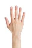 De hand die van de vrouw teken maakt Stock Foto